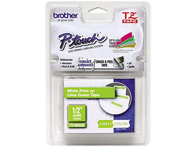 "Brother TZEMQG35 TZ Standard Adhesive Laminated Labeling Tape, 1/2"" x 16.4 ft., White/Lime Green"