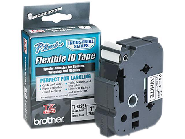 Brother TZEFX251 TZ Flexible Tape Cartridge for P-Touch Labelers, 1in x 26.2ft, Black on White
