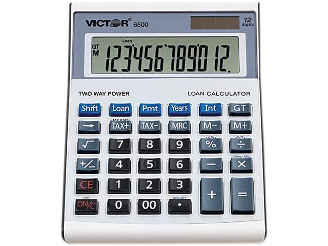 Victor 6500 6500 Executive Desktop Loan Calculator, 12-Digit LCD, Black/Silver