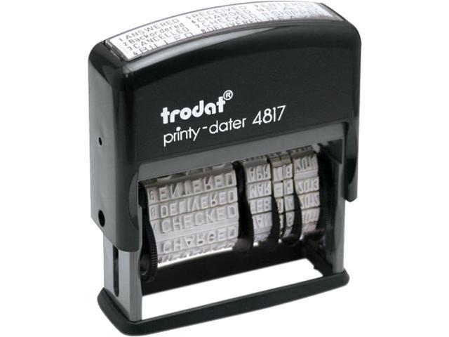 Trodat E4817 Trodat Economy 12-Message Stamp, Dater, Self-Inking, 2 x 3/8, Black