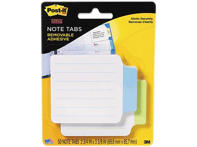 Post-it 2200-GB Super Sticky Removable Note Tabs, 3 3/8 x 2 3/4, 25/pad, 2 pads/PK, Green, Blue