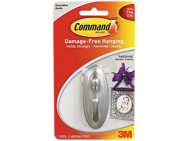Command 17051BN Plastic Hook with Metallic Finish, Traditional, Medium