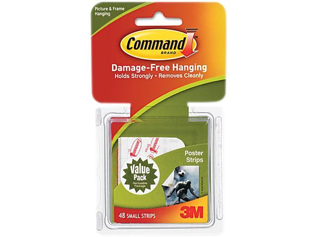 Command 17024VP Poster Adhesive Strip Value Pack, White, 48 Strips/Pack