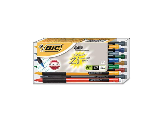 BIC MPGV11 Matic Grip Mechanical Pencil, Assorted Barrel, 0.70 mm, 12/Pack