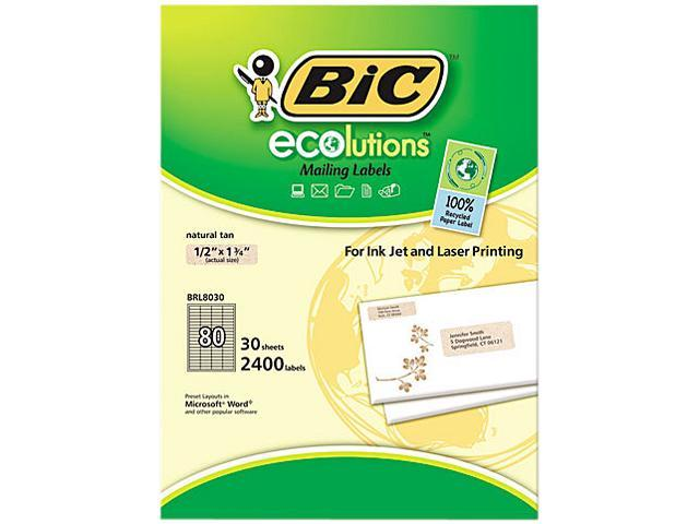 BIC BRL8030NAT ecolutions Mailing Labels, 1/2 x 1-3/4, Natural Tan, 2400/Box