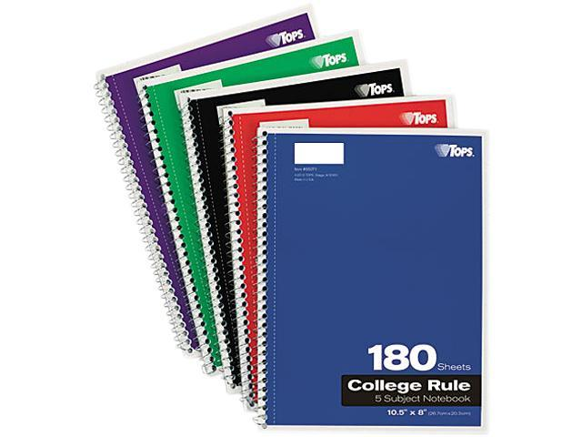 Tops 65071 Wirebound 5-Subject Notebook, College Rule, 10-1/2 x 8, White, 200 Sheets/Pad