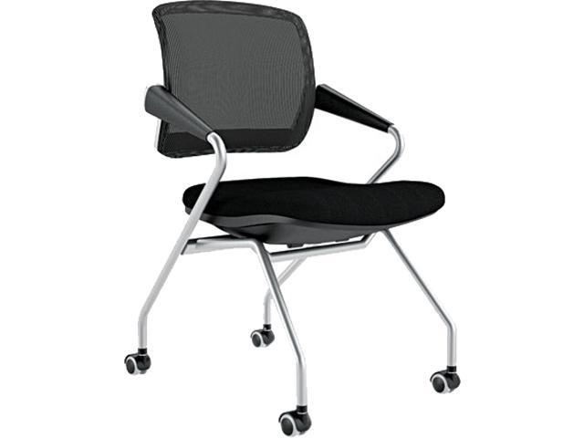 Mayline TSM2BB Valoré Series Mid-Back Nesting Chair, Mesh/Fabric, Black, 2/Carton