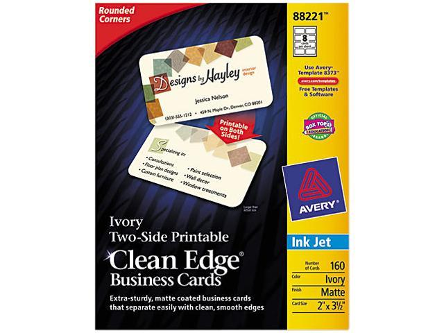 Avery 88221 Clean Edge Business Cards Inkjet 2-Sided 160/PK Matte Ivory