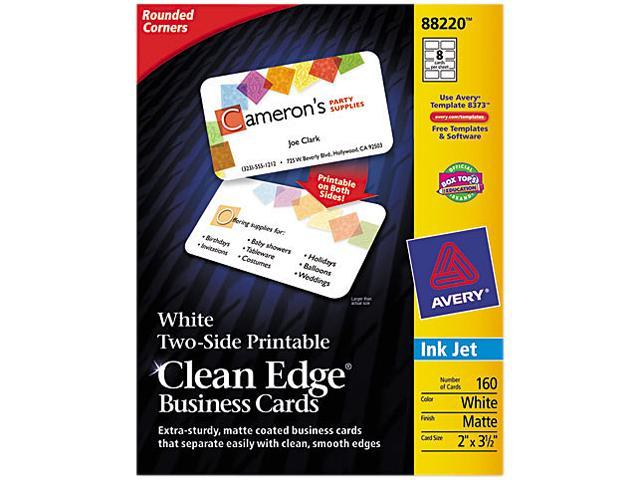 Rounded Two-Sided Clean Edge Business Cards Inkjet 2 x 3 1/2 White 160/Pack