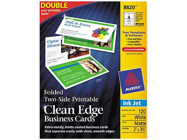 Avery 8820 Clean Edge Inkjet Business Cards, White, 2 3 1/2, 120/Pack