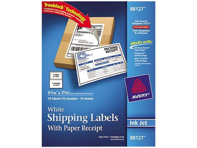 Avery 88127 Shipping Labels with Paper Receipt, 5-1/16 x 7-5/8, White, 10/Pack
