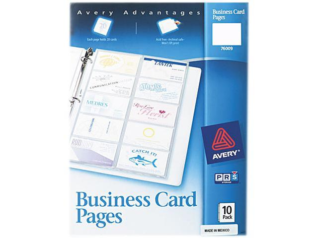 Avery 76009 Business Card Binder Pages, 20 2 x 3 1/2 Cards/Page, 10 Pages/Pack