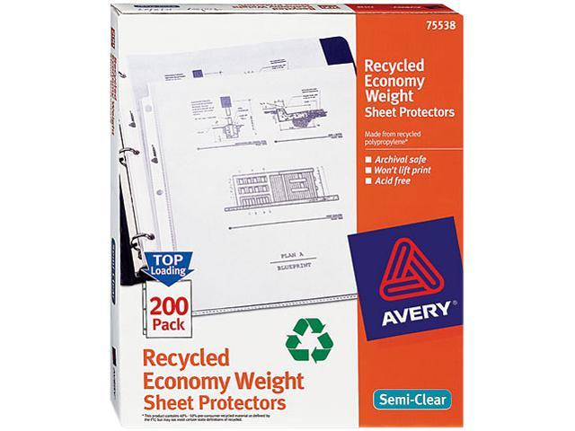 Avery 75538 Top-Load Recycled Polypropylene Sheet Protector, Semi-Clear, 200/Box