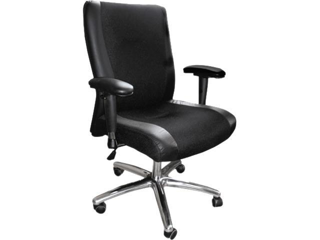Mayline 2522BLK Mercado Series Mid-Back Leather/Mesh-Fabric Chair, Black
