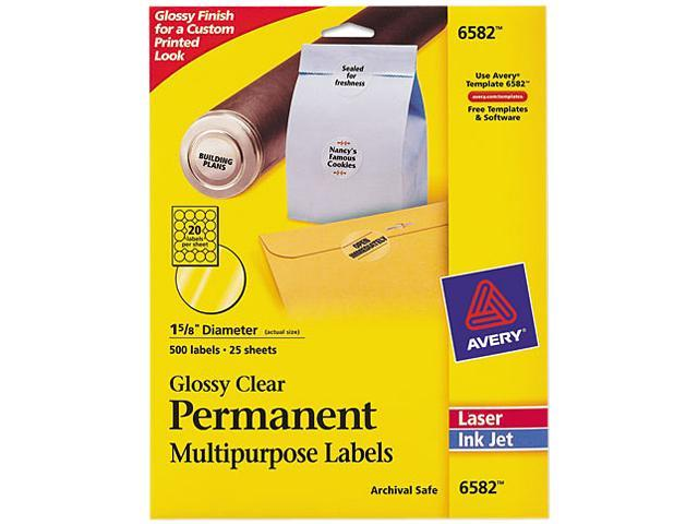 Round Glossy Clear Permanent Labels, Laser/Inkjet, 1 2/3