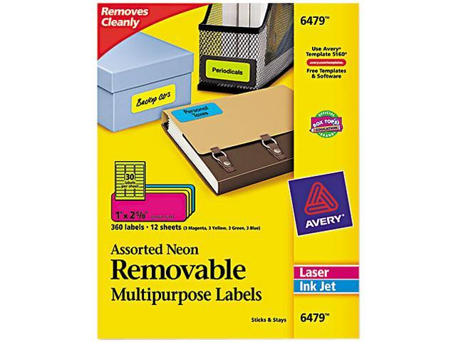 High Visibility Laser Labels 1 x 2 5/8 Assorted Neon 360/Pack