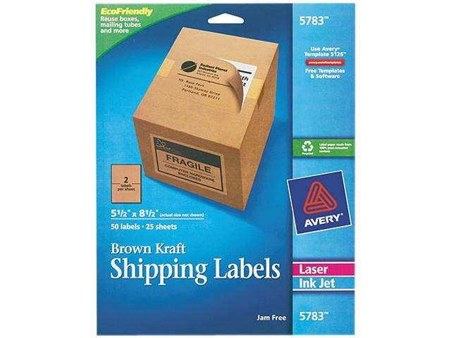 Avery 5783 Brown Kraft Shipping Labels, 5 1/2 x 8 1/2, 50/Pack