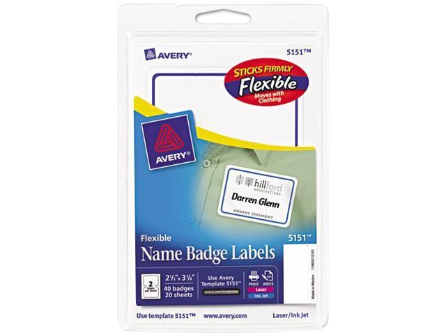 Avery Flexible Self-Adhesive Laser/Inkjet Name Badge Labels, 2-1/3 x 3-3/8, BE, 40/Pk