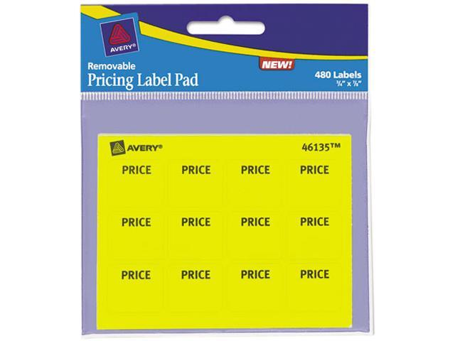Avery 46135 Permanent Label Pads, 3/4 x 7/8, Yellow, 480/Pack