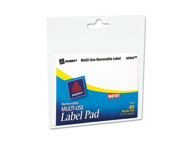Avery 45444 Removable Label Pads, 2 x 4, White, 40/Pack