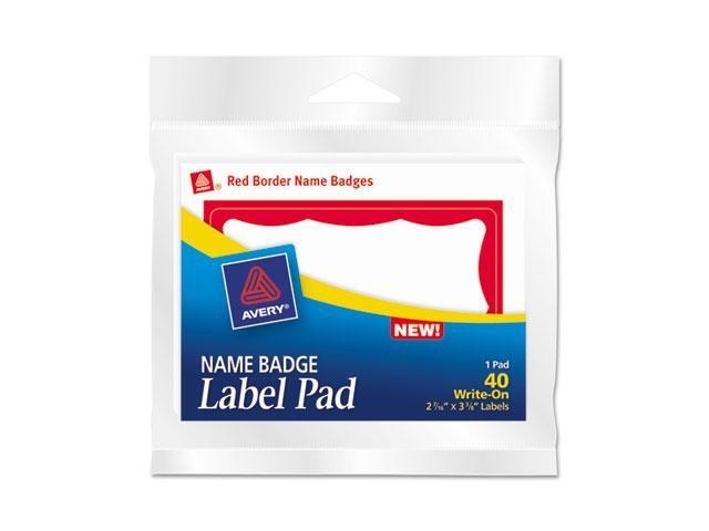 Avery 45143 Name Badge Label Pads, 3 x 4, Red/White, 40/Pack