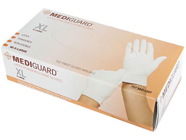 Medline MG1207P MediGuard Powdered Latex Exam Gloves, X-Large, 90/Box