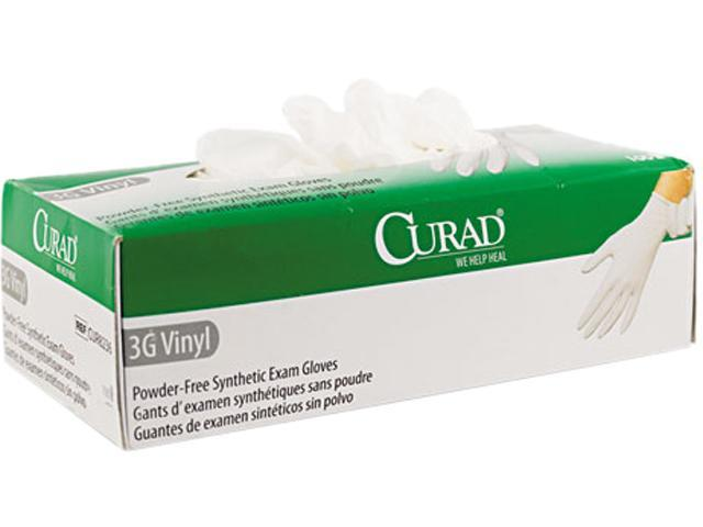 Curad CUR8235 3G Synthetic Vinyl Powder-Free Exam Gloves, Medium, 100/Box