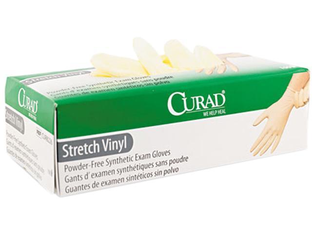 Curad CUR8225 Synthetic Vinyl Powder-Free Exam Gloves, Medium, 100/Box