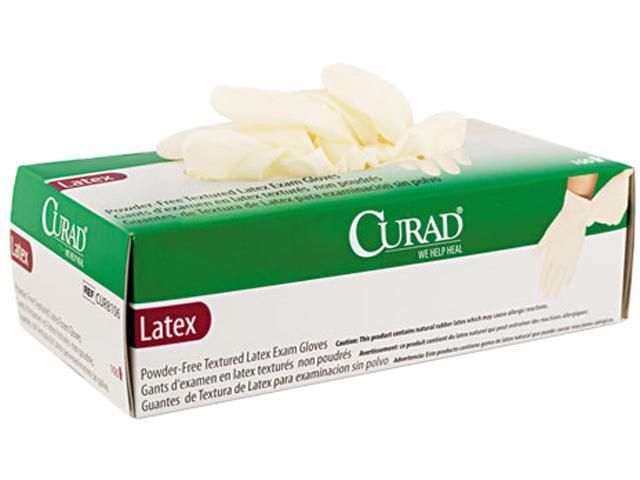 Curad CUR8104 Powder-Free Latex Exam Gloves, Small, 100/Box
