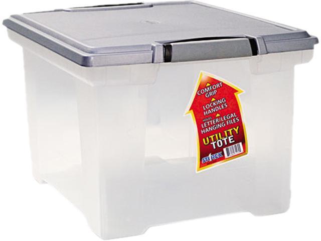 Storex 61530U01C Portable File Tote w/Locking Handle Storage Box, Letter/Legal, Clear