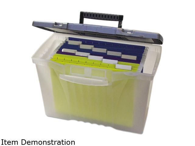 Storex 61511U01C Portable File Storage Box w/Organizer Lid, Letter/Legal, Clear
