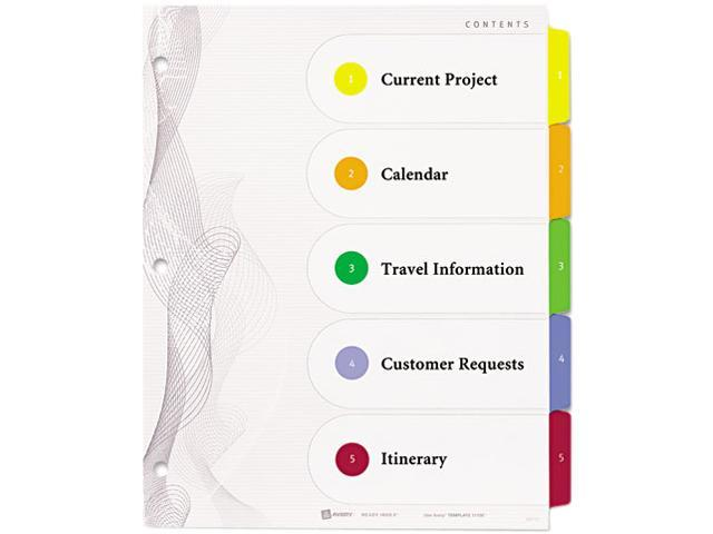 Avery 22538 Designer Ready Index Dividers, Multicolor 5-Tab, 11 x 8-1/2, 3 Sets/Pack