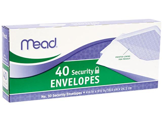 Mead 75214 Security Envelope, 4 1/8 x 9 1/2, 20 lb, White, 40/Box