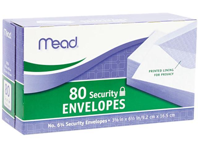 Mead 75212 Security Envelope, 3 5/8 × 6 1/2, 20 lb, White, 80/Box