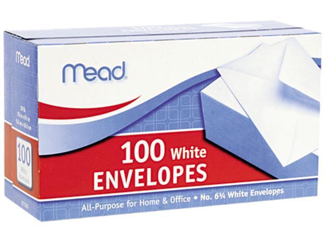 Mead 75100 Business Envelope, 3 5/8 × 6 1/2, 20 lb, White, 100/Box