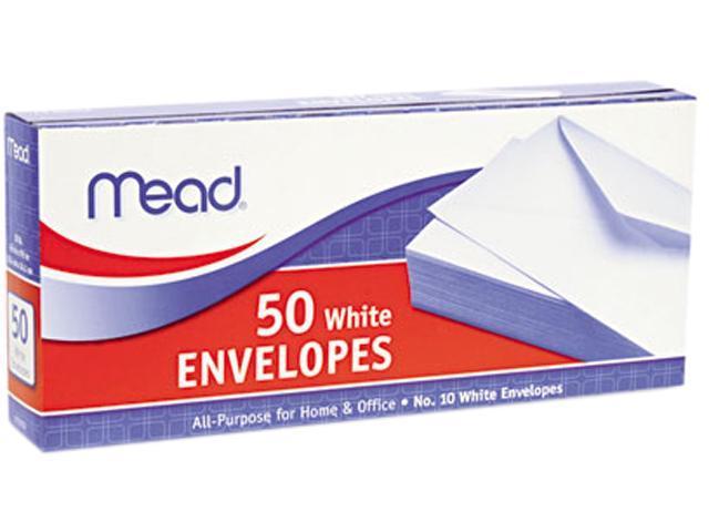Mead 75050 Business Envelope, 4 1/8 x 9 1/2, 20 lb, White, 50/Box