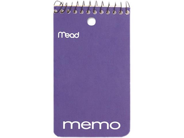 "Mead 45354 Memo Book, College Ruled, 3"" x 5"", Wirebound, Punched, 60 Sheets, Assorted"
