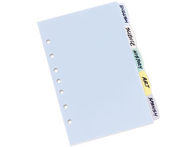 Write & Erase Big Tab Plastic Dividers 5-Tab 5 1/2 x 8 1/2
