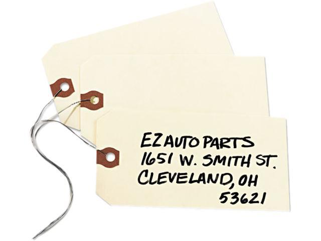 """Shipping Tags W/Wire, No 6, 5-1/4""""x2-5/8"""", 1000/BX, Manila AVE12606"""