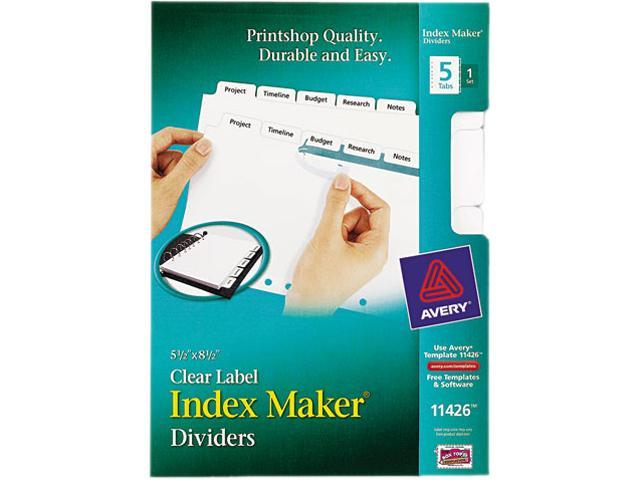 Index Maker Dividers, 5 Tabs, 8-1/2