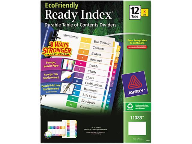 T/of Contents Dividers, Recycled, 12 Tabs/ST, 3ST/PK, Multi AVE11083