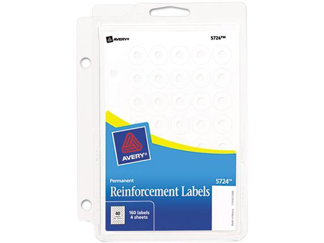 "Avery 05724 Hole Reinforcements, 1/4"" Diameter, White, 160/Pack"