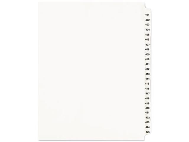 Avery 01346 Avery-Style Legal Side Tab Divider, Title: 401-425, Letter, White, 1 Set
