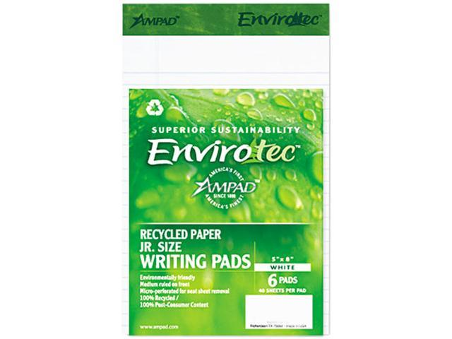 Ampad 40112 Envirotech Recycled Notebook, Wide Rule, 5 x 8, WE, 6 40-Sheet Pads/Pack