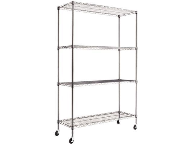 Alera SW604818BA (ALESW604818BA) Complete Wire Shelving Unit w/Caster, 4-Shelf, 48w x 18d x 72h, Black Anthracite