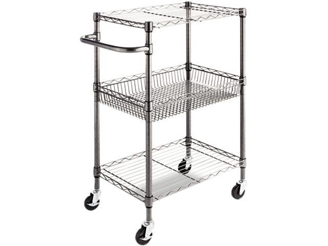 Alera ALESW342416BA Three-Tier Wire Rolling Cart, 28w x 16d x 39h, Black Anthracite