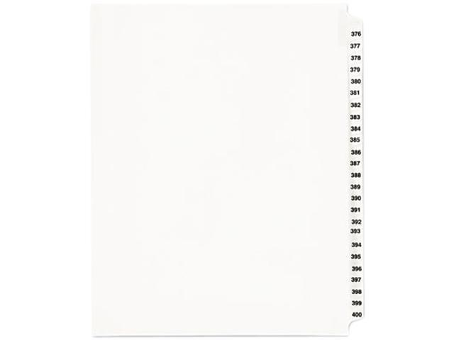 "Index Dividers, Side Tab, 376-400, 8-1/2""x11"", White AVE01345"