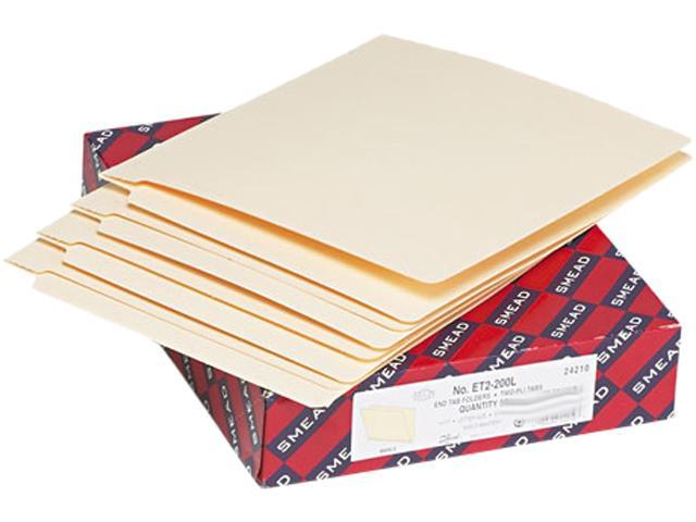 Smead 24210 Heavyweight Folders, Straight Two-Ply End Tab, Letter, Manila, 50/Box