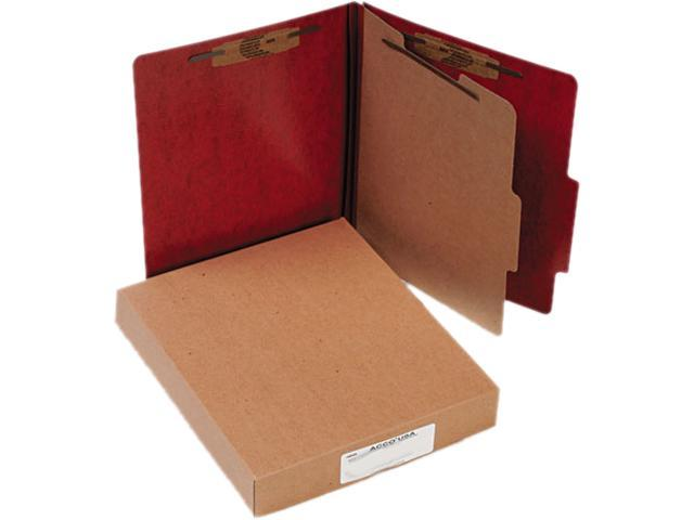 Acco 15004 Presstex 20-Point Classification Folders, Letter, Four-Section, Red, 10/Box