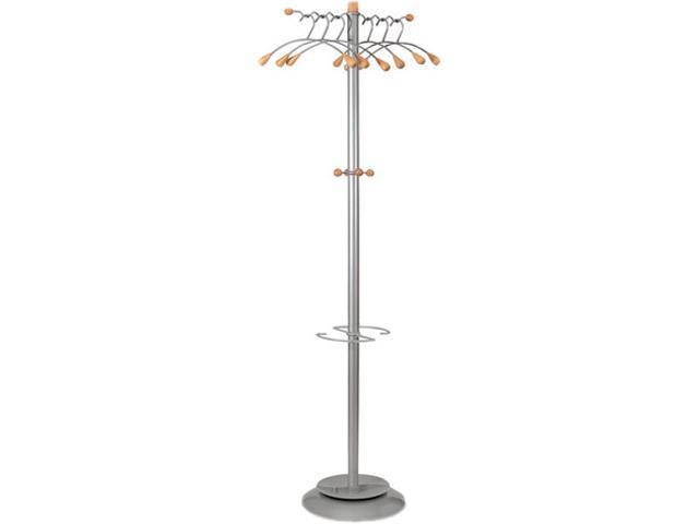 Alba PMWAVE Wavy Coat Rack, Six Hangers/Two Knobs/Four Hooks, Metallic Gray/Mahogany